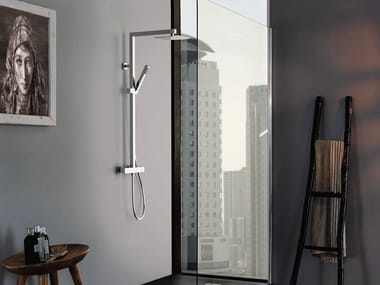 Thermostatic shower panel with overhead shower Q-ELEGANCE | Shower panel with overhead shower