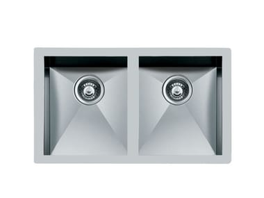2 bowl undermount stainless steel sink QUADRA 2V.34X40 S/TOP INOX