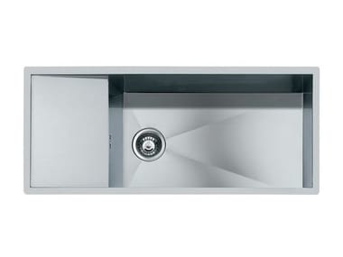 Flush-mounted stainless steel sink with drainer QUADRA rag.1V+SC.FT.INOX