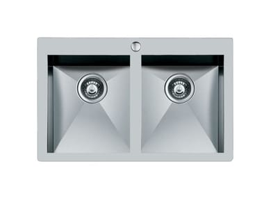 2 bowl flush-mounted stainless steel sink QUADRA rag.2V.FT B/RUB.INOX