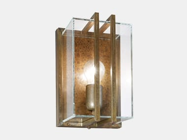 Brass and glass outdoor wall lamp QUADRO 262.07.OT