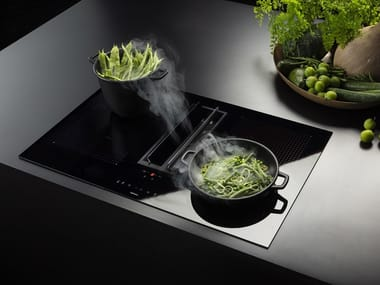 Induction glass ceramic hob with integrated hood QUANTUM EASY