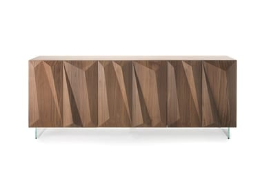 Lacquered wooden sideboard with integrated lighting QUARTZ | Sideboard