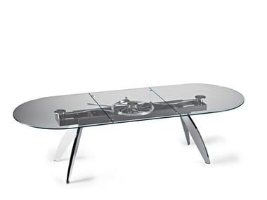 Extending oval crystal dining table QUASAR | Oval table