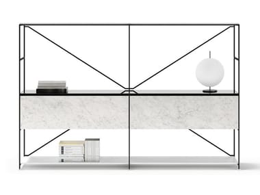 Open sectional steel and marble bookcase R.I.G. MODULES LIVING   Bookcase