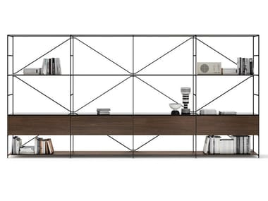 Open sectional steel and wood bookcase R.I.G. MODULES LIVING   Steel and wood bookcase