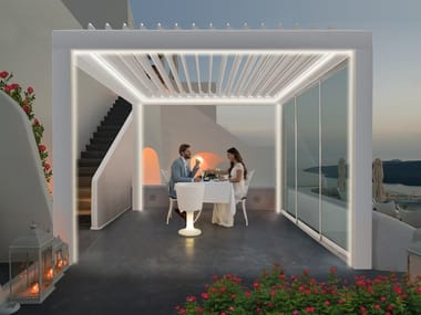 Aluminium pergola with adjustable louvers with built-in lights R640 PERGOSPACE
