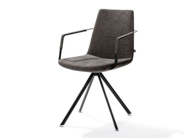 Trestle-based chair with armrests RAFAEL | Fabric chair