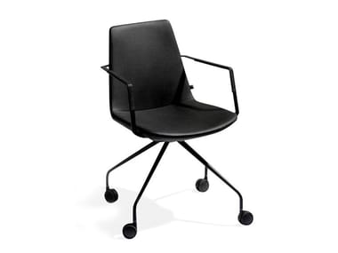 Trestle-based Eco-leather office chair with castors RAFAEL | Office chair
