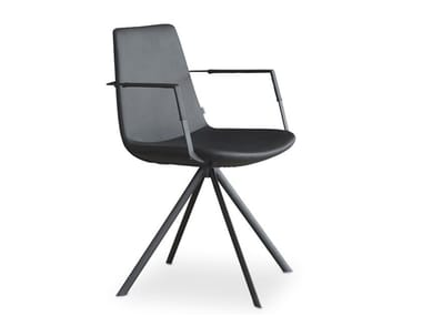Trestle-based Eco-leather chair with armrests RAFAEL | Trestle-based chair