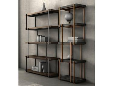 Open double-sided wooden bookcase RAIN
