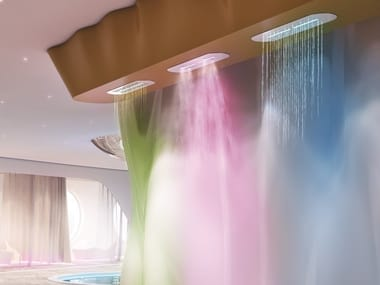 Ceiling mounted stainless steel overhead shower with chromotherapy RAINYCLOUD | Overhead shower