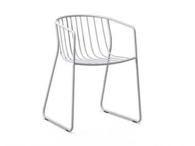 Sled base steel chair with armrests RANDA NUDE AR