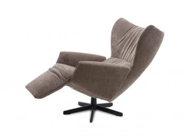 Reclining fabric chair with footstool RAPSODY | Recliner armchair