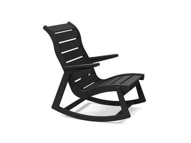 Rocking recycled plastic garden armchair RAPSON | Rocking garden armchair