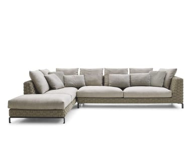 Textilene sofa with chaise longue RAY OUTDOOR NATURAL | Sofa with chaise longue