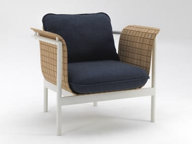 Bamboo fibre garden armchair with armrests RE-WOOD
