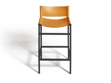High tanned leather stool with footrest REA | Stool