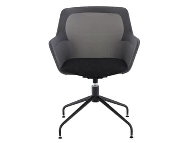 Swivel fabric chair with 4-spoke base with armrests PICCIONE | Reception chair