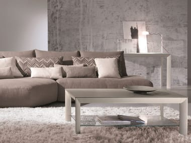 Rectangular tempered glass coffee table MOON | Rectangular coffee table