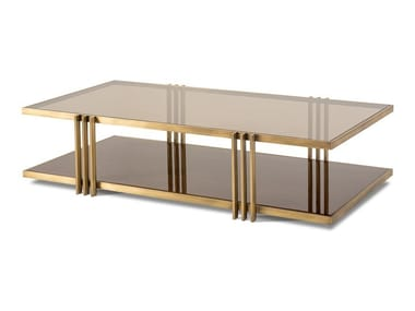Low rectangular metal and glass coffee table EMPIRE | Rectangular coffee table