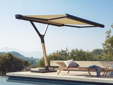 Rectangular Garden umbrella in galvanized steel and iroko SALENTO | Rectangular Garden umbrella