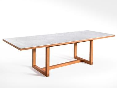 Tavolo rettangolare in legno e marmo SPAN | Tavolo rettangolare