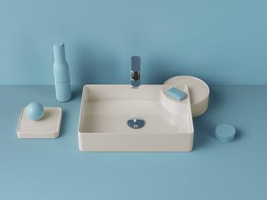 Lavabo da appoggio rettangolare in ceramica CARTESIO | Lavabo rettangolare