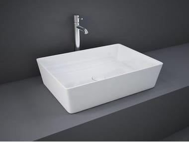 Vasque à poser rectangulaire en céramique RAK-FEELING | Lavabo rectangulaire