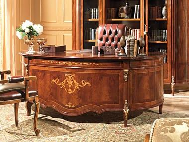 Oval wood-product executive desk REGGENZA | Office desk