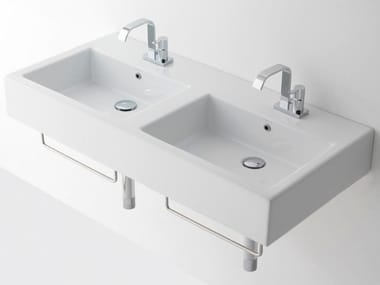 Double rectangular ceramic washbasin RELIGIO