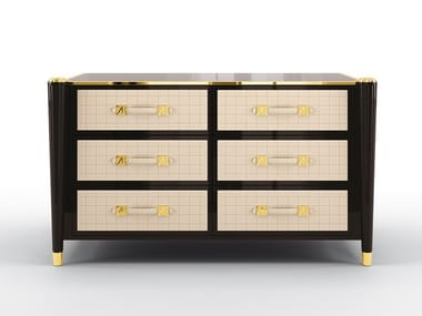 Solid wood chest of drawers with integrated handles REMINGTON | Chest of drawers