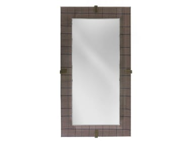 Wall-mounted mirror with fabric  and glass frame RENÉ | Rectangular mirror