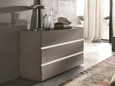 Wooden chest of drawers with integrated handles REPLAY | Wooden chest of drawers