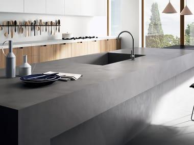 Porcelain stoneware kitchen worktop with resin effect RES ART | Kitchen worktop