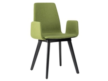 Fabric chair with armrests and beech legs TECLA SB01 BASE 10