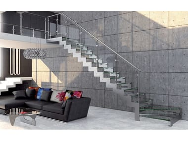 Glass and steel Open staircase with lateral stringers REXAL GLASS