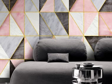 Industrial style Ecological washable PVC free wallpaper RHOMBUS