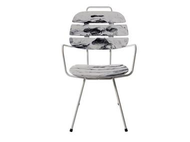 Polyethylene garden chair with armrests RIBS