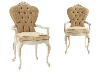 Tufted fabric chair with armrests RICASOLI | Chair with armrests
