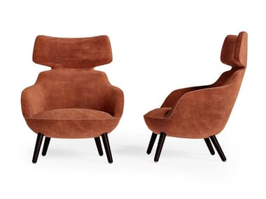 Upholstered armchair with armrests with headrest RICHMOND   Armchair with headrest