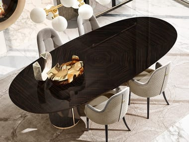 Lacquered oval dining table RICHMOND   Oval table