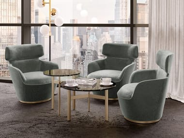 Upholstered fabric armchair with headrest RICHMOND   Fabric armchair