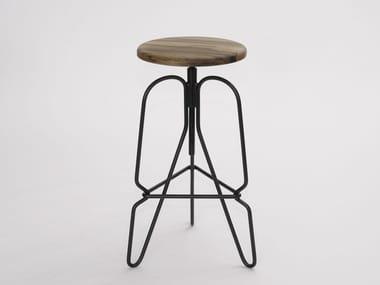Height-adjustable steel and wood stool RIG