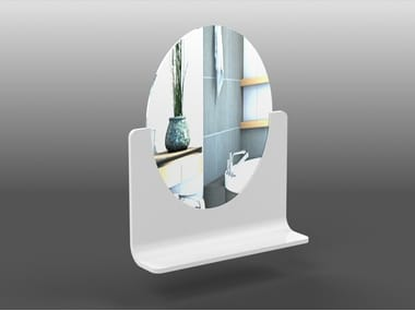 Oval wall-mounted Corian® mirror with shelf RING | Mirror with shelf