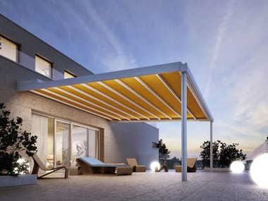 Wall-mounted pergola with sliding cover RIVERA
