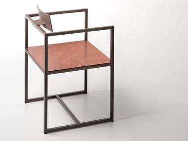 Sedia in metallo con braccioli RIVIERA | Sedia