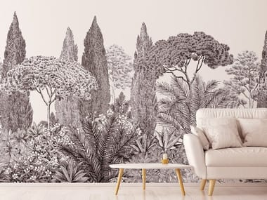 Panoramic non-woven paper wallpaper RIVIERA GRISAILLE