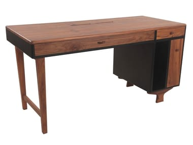 Teak office desk with cable management RIZU | Office desk with cable management