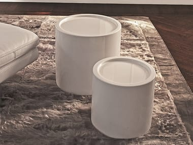 Round garden side table with tray ROADSTER | Round coffee table